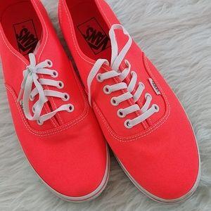 Neon pink orange Vans low top tennis shoes sneaker